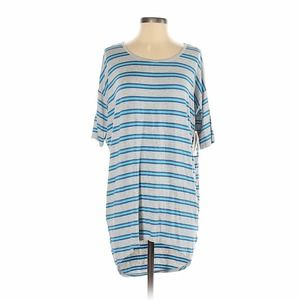 LuLaRoe Irma Tunic Top Gray with Blue Stripes, XXS